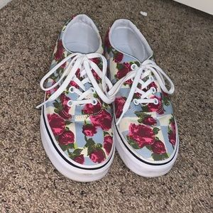 Women's Size 8- Floral Checkered Vans